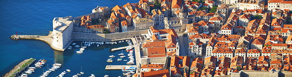 Aerial view of Dubrovnik historic centre, Croatia, Europe