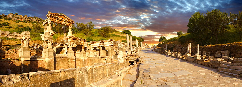 The Fountain of Emperor Trajan and Curetes Street, 102 - 114 A.D., Ephesus Archaeological Site, Anatolia, Turkey