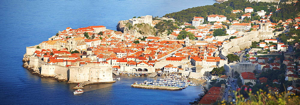 Aerial view of Dubrovnik old town port, Croatia, Europe