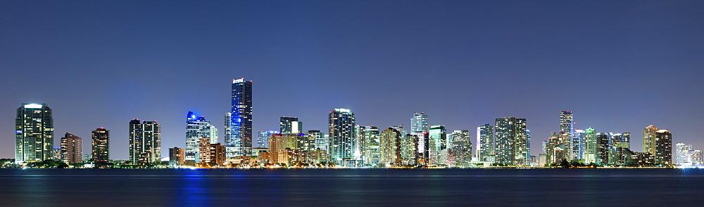 Miami skyline seen from Key Biscayne at dusk, Key Biscayne, Miami, Florida, United States, North America