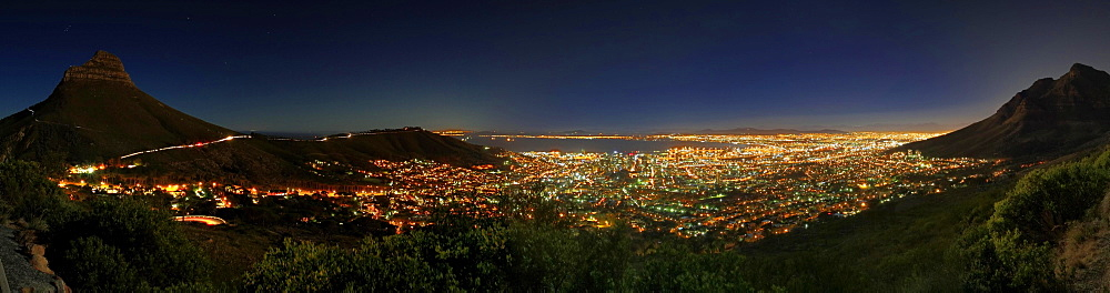 View from Table Mountain to Cape Town, illuminated, at night, South Africa, Africa