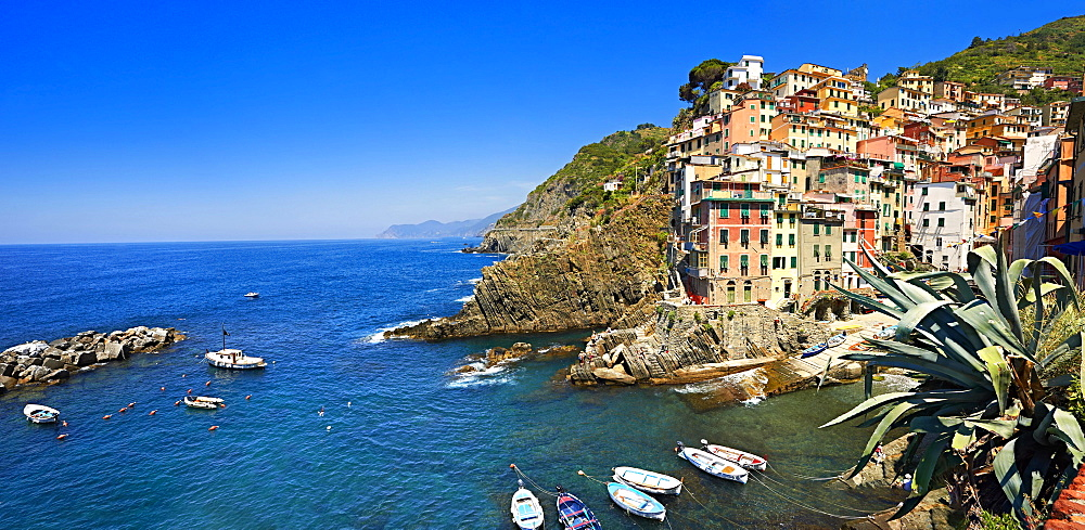 Townscape of Riomaggiore, Cinque Terre National Park, Liguria, Italy, Europe
