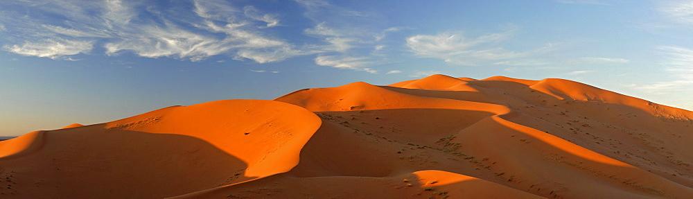 The sand dunes of Erg Chebbi at the western edge of the Sahara desert, Morocco, Africa