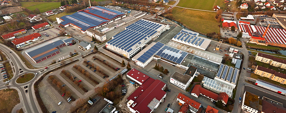 Aerial view, industrial complex with companies Lingl, ARO, UTT, photovoltaics, Krumbach, Swabia, Bavaria, Germany, Europe