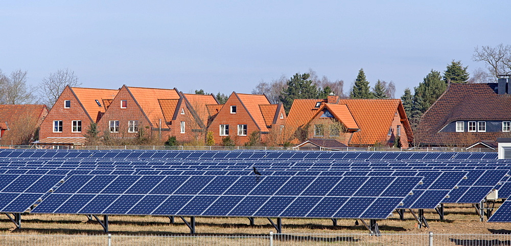 Solar farm in Oertzen near Lueneburg, Lower Saxony, Germany, Europe