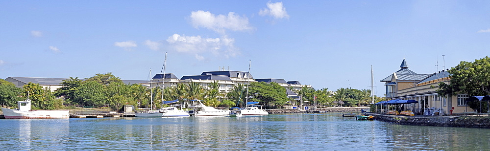 Panoramic view of luxury hotel in Port Louis, Mauritius, Africa