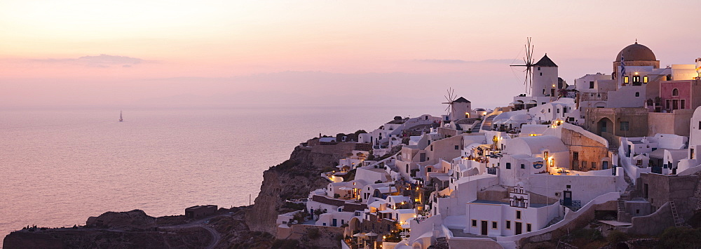Dusk views of Oia in Santorini, Cyclades, Greek Islands, Greece, Europe - 835-103