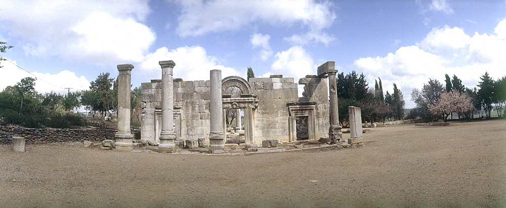 Panoramic view of the ruins of the ancient synagouge of Baram in the Upper Galilee, Israel