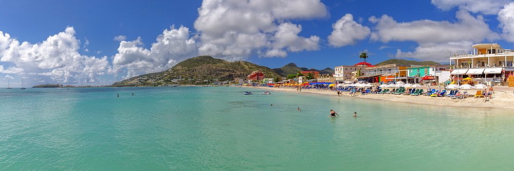 View of beach and turquoise sea at Philipsburg, St Maarten, Caribbean, Leeward Islands, West Indies, Central America