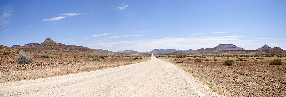 The road from the Skeleton Coast joins Damaraland, Namibia, Africa