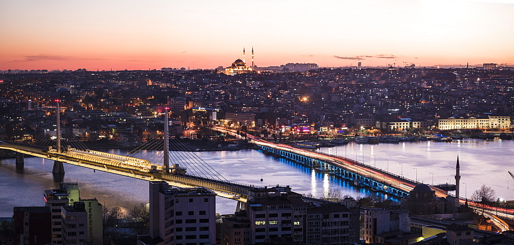 View over Istanbul skyline from The Galata Tower at night, Beyoglu, Istanbul, Turkey, Europe