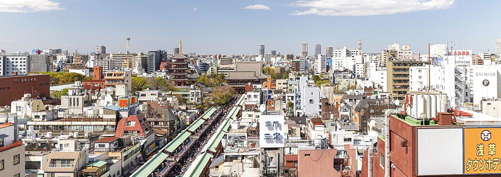 Panorama of Senso-Ji Temple in Asakusa, Tokyo, Japan.