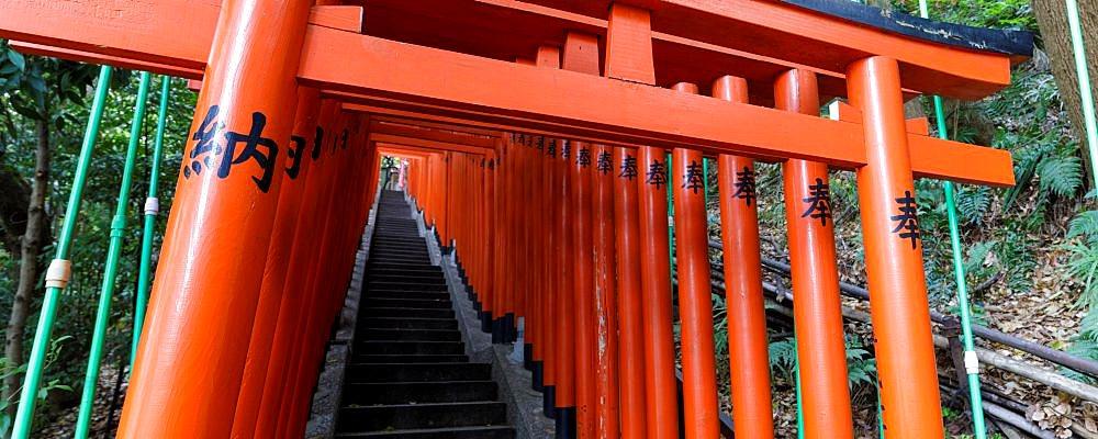 Torii gates at Hie Shrine in Chiyoda, Tokyo, Japan.