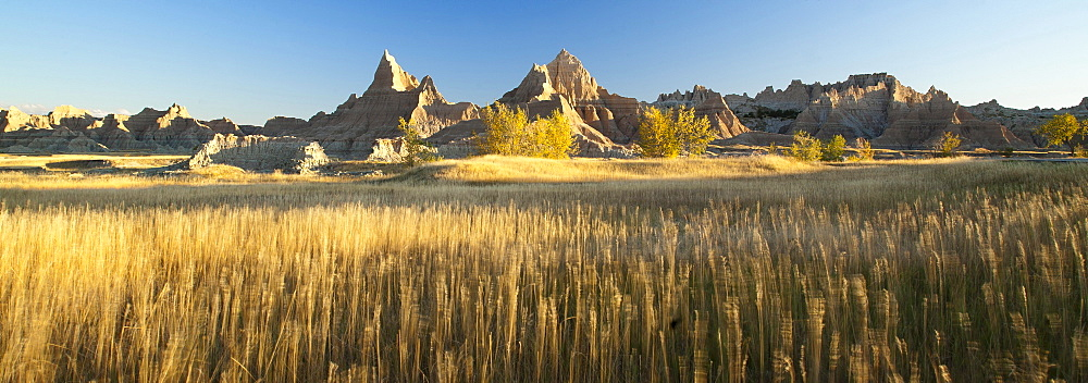 BADLANDS NATIONAL PARK, SOUTH DAKOTA - OCTOBER 2011: The striking geologic deposits of Badlands National Park in South Dakota contain one of the world's richest fossil beds and draw many to its rugged beauty.