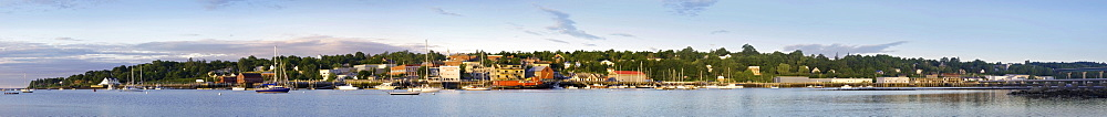 A panoramic view of the waterfront in Belfast, Maine.
