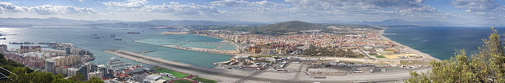 Rock Of Gibraltar, ariel view, city of Gibraltar, Tken from fort. City Of Gibraltar, Gibraltar Strait , Gibraltar Strait . UK
