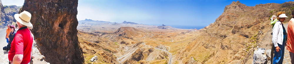 Antonio Peak,  03/04/2009. Views of the surrounding country side of Assomada, Praia on Sao Tiago Island of the Cape Verde. Volcanic landscape and road. Praia, Sao Tiago Island. Cape Verde