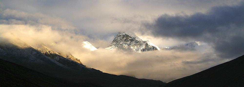Tibetan  Mountain and Clouds. Sun Rise,  Himalayas, Tibet. - 986-130