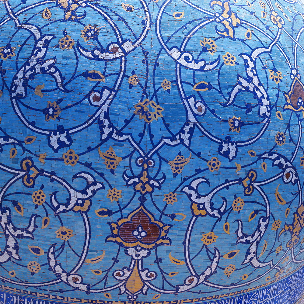 Detail of the dome of the Madrasah-ye Chahar Bagh, formerly the Theological College of the Mother of the Shah, Isfahan, Iran, Middle East