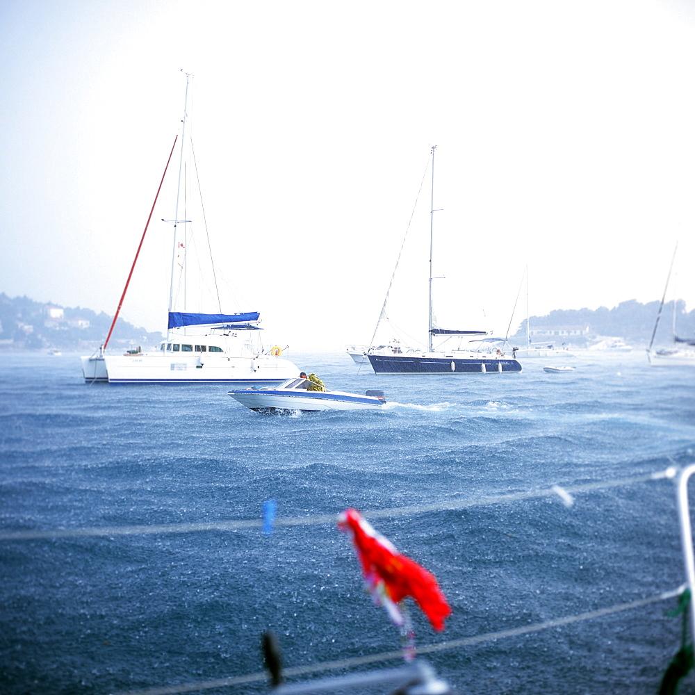Sailboats in storm anchoring near Hvar, Dalmatia, Croatia - 1113-103666