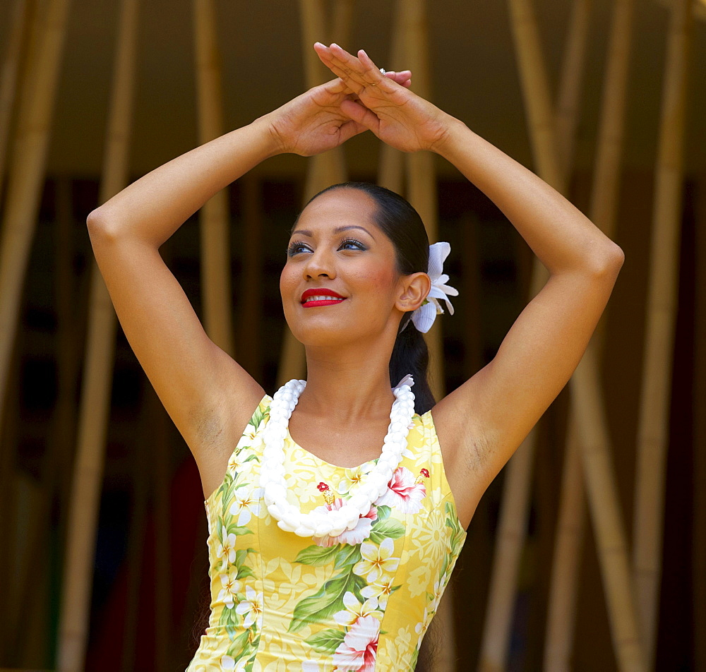 Local woman dancing Hula, Oahu, Hawaii, USA, America