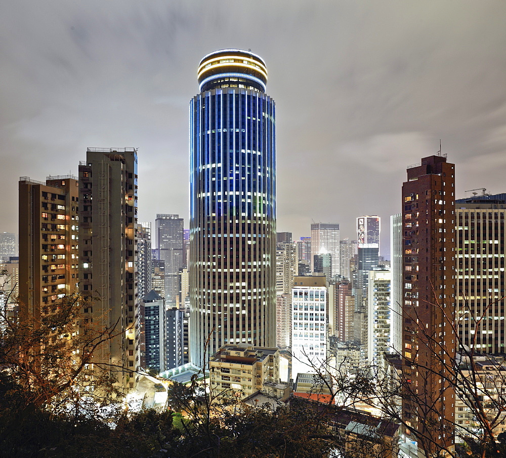 Hongkong Skyline, Hopewell Centre and Wan Chai at night, Hong Kong, China