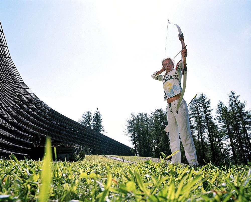 Archer, Vigilius Mountain Resort, Vigiljoch, Lana, Trentino-Alto Adige/Suedtirol, Italy