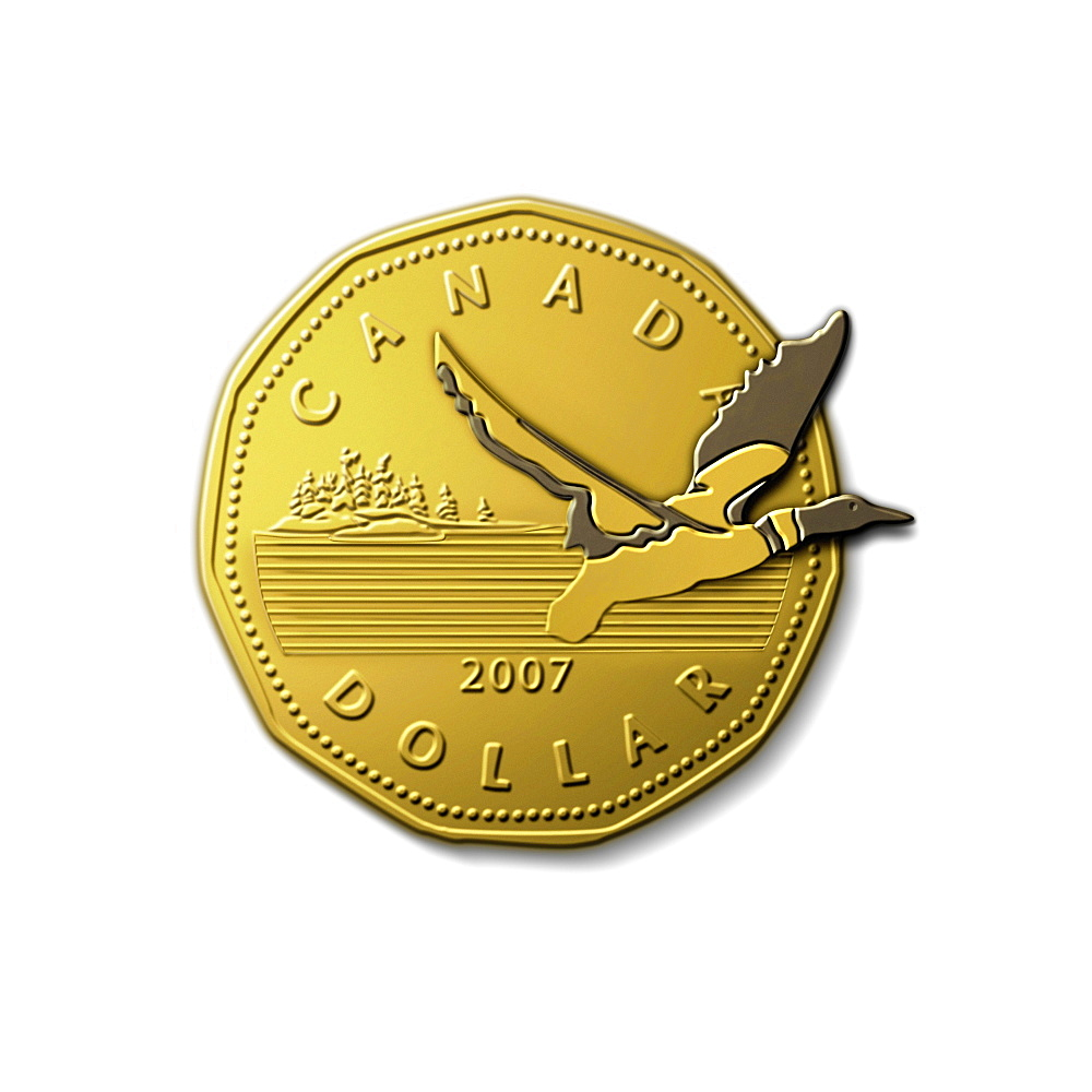 Loon Flying out of Loonie Dollar Coin