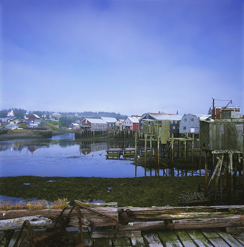 Old Fishermen's Settlement in Fog, Seal Cove, Grand Manan Island, New Brunswick.