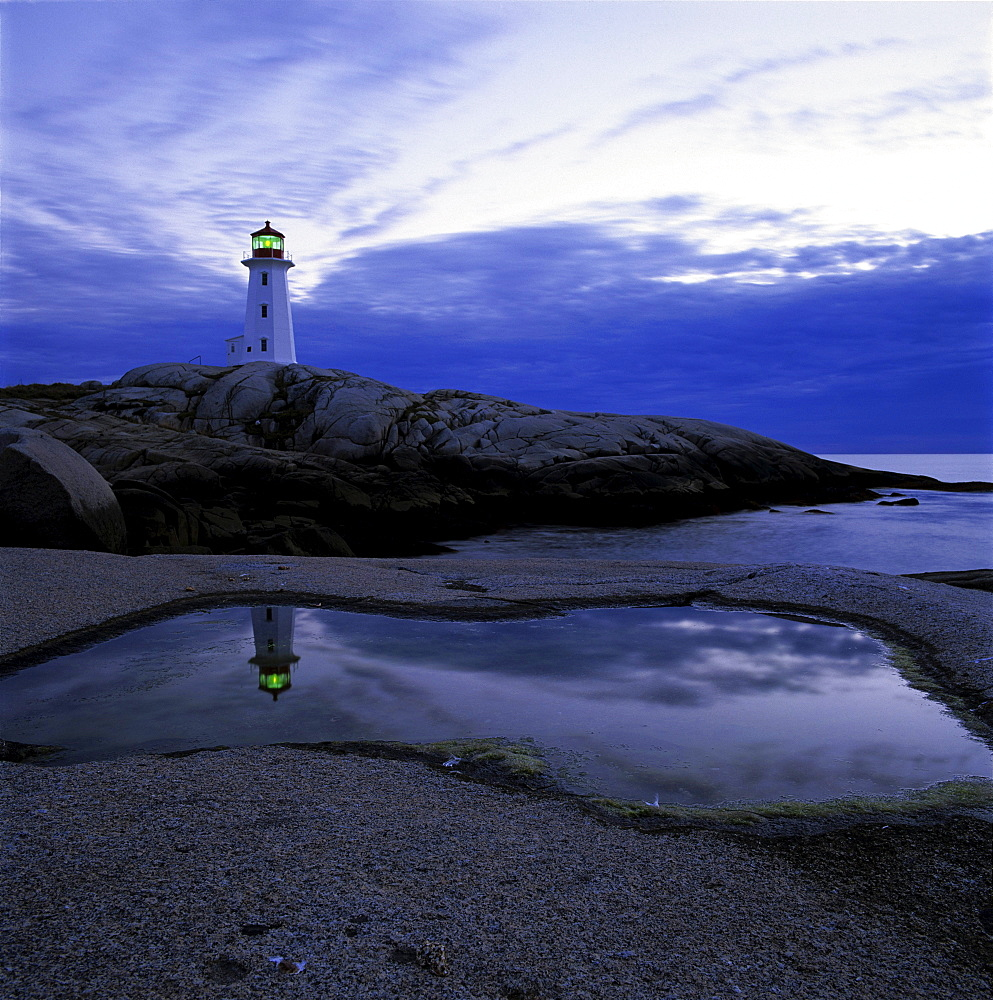 Lighthouse and its Reflection at Dusk, Peggy's Cove, Nova Scotia