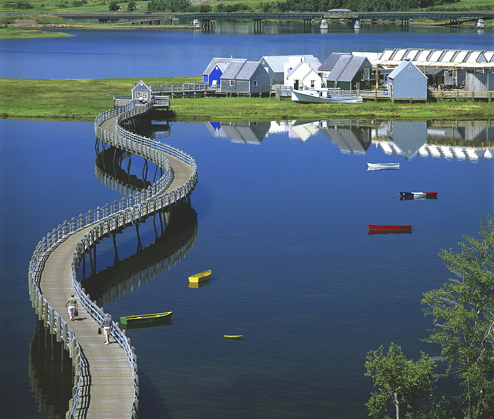 Boardwalk over Bouctouche River, Pays de la Sagouine Village, Bouctouche, New Brunswick