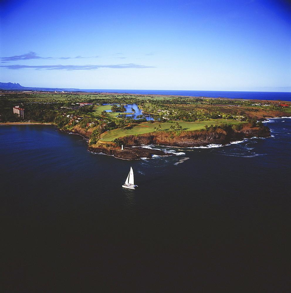 Hawaii, Kauai, Lihue, Kauai Lagoons Golf Course, Aerial of Kiele Course.