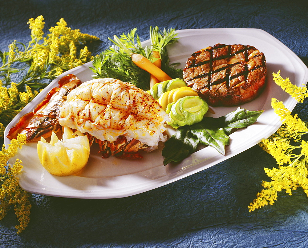 Studio shot of a delicious looking lobster  and steak platter.