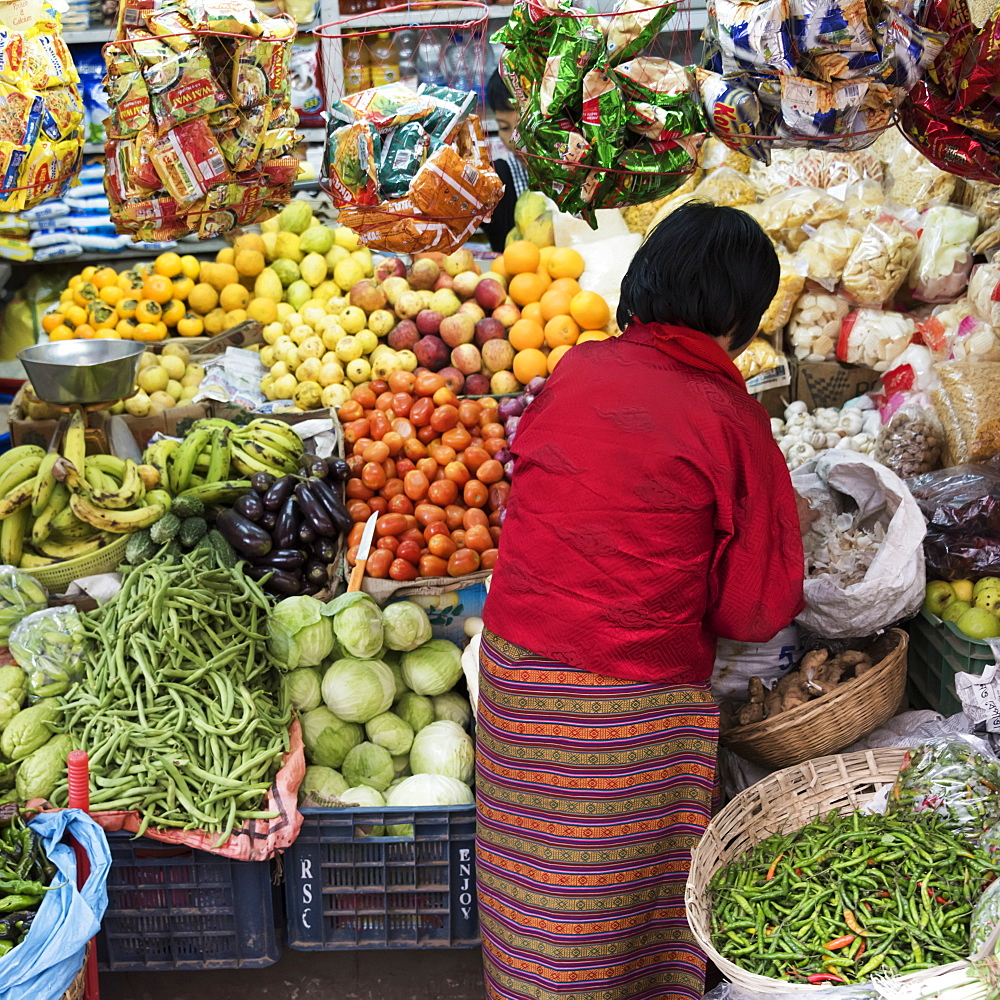 A woman shopping for fresh produce, Thimphu, Bhutan