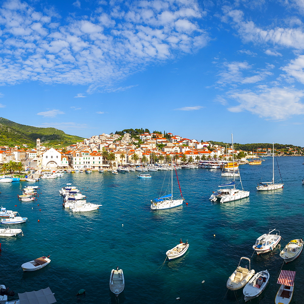 Elevated view over Hvar's picturesque harbour, Stari Grad (Old Town), Hvar, Dalmatia, Croatia, Europe
