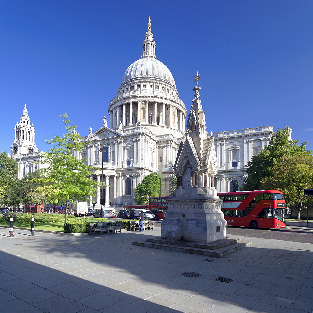 St. Paul's Cathedral, and red double decker bus, London, England, United Kingdom, Europe
