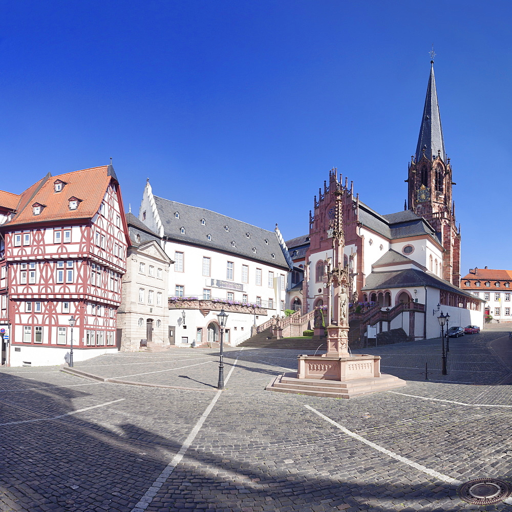 Stiftsplatz Square with Stiftsmuseum, Stiftsbrunnen fountain and Stiftskirche Church of St. Peter and Alexander, Aschaffenburg, Lower Franconia, Bavaria, Germany, Europe