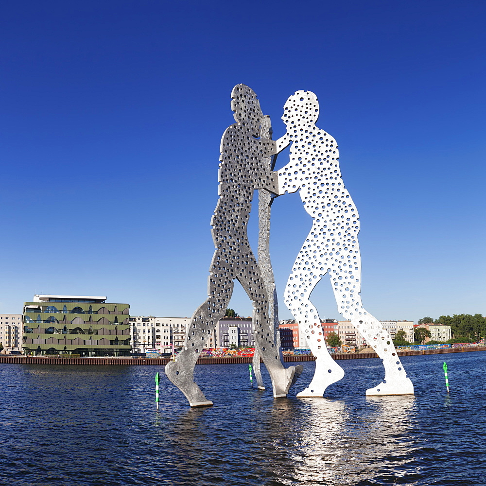 Molecule Man by Jonathan Borofsky, Spree River, Treptow, Berlin, Germany, Europe - 1160-3223
