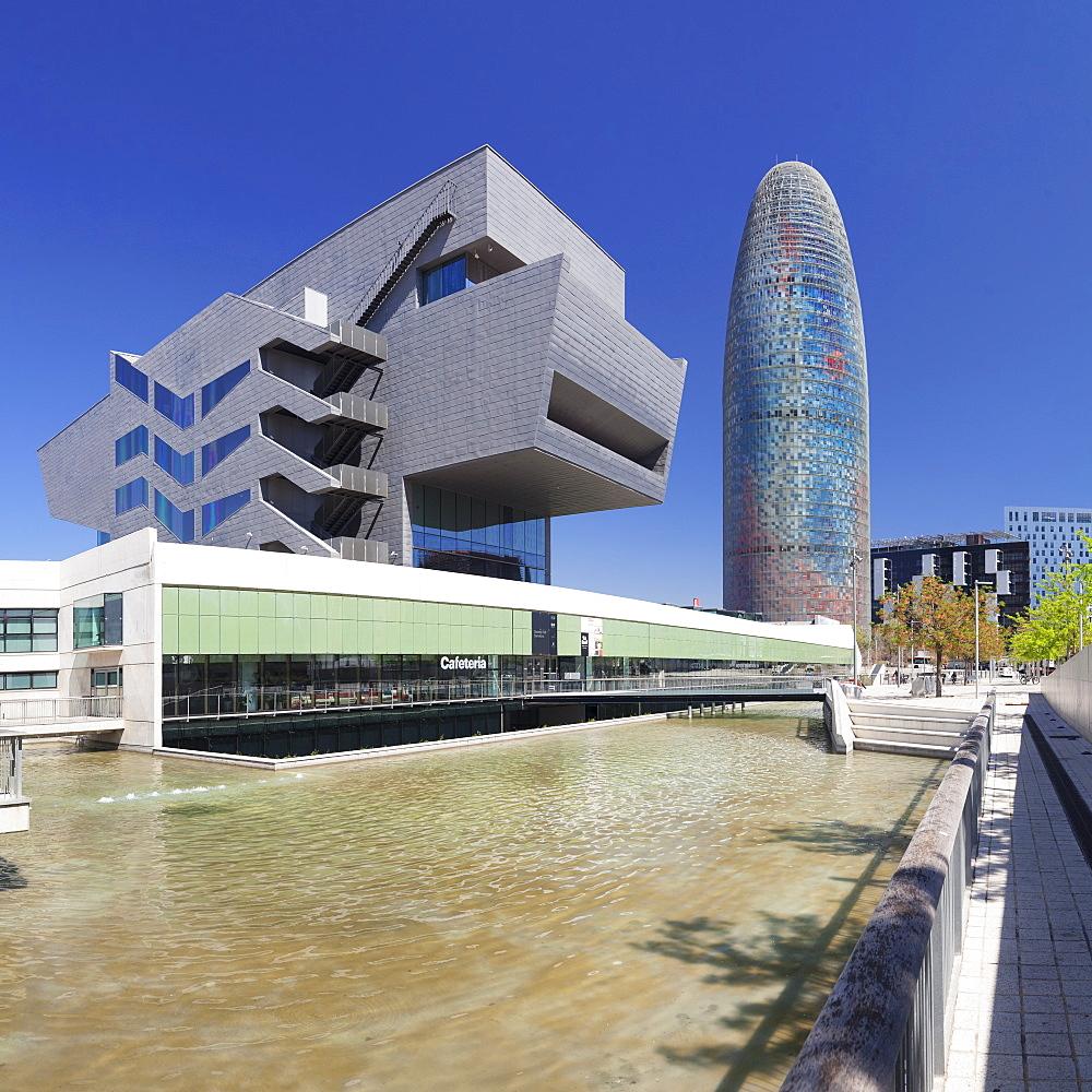 Torre Agbar, architect Jean Nouvel, Placa de les Glories Catalanes, Barcelona, Catalonia, Spain, Europe