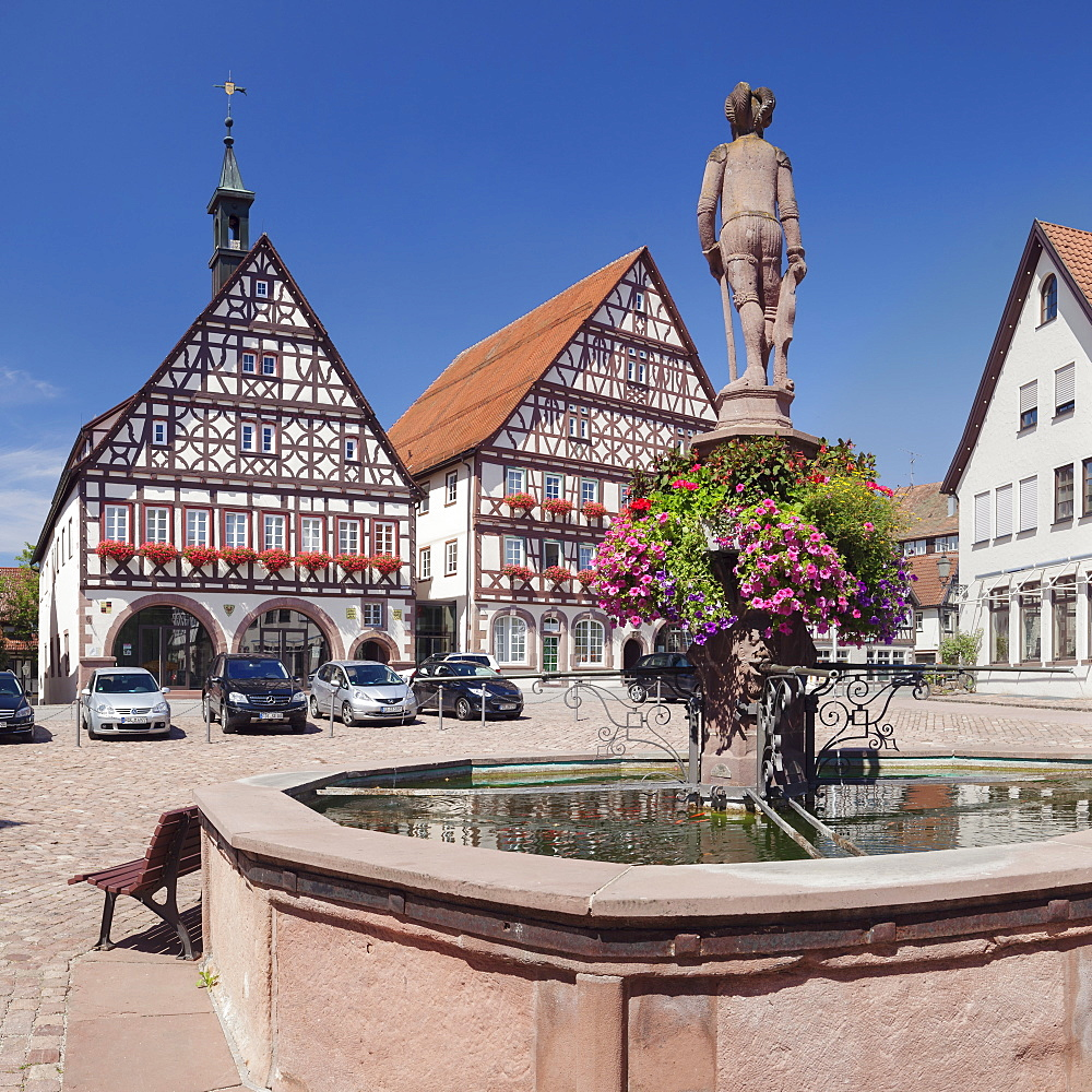 Townhall and half-timbered house, marketplace, Dornstetten, Black Forest, Baden-Wuerttemberg, Germany