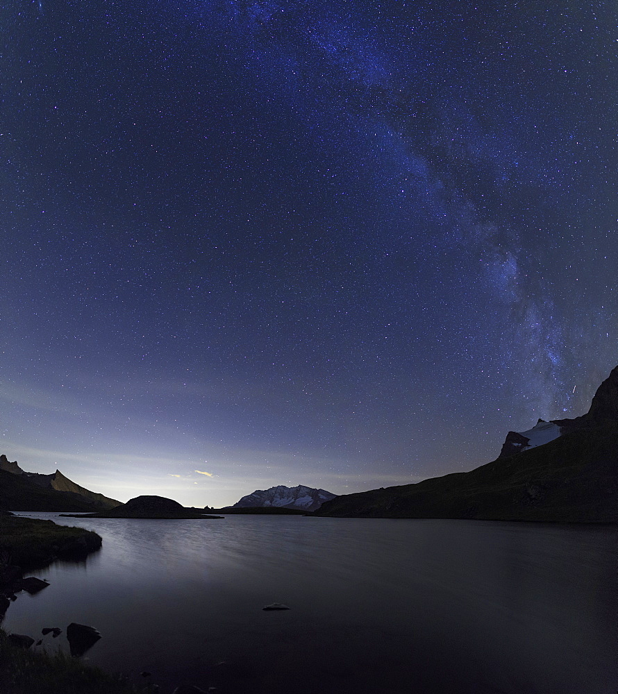 Milky Way over Rossett Lake at an altitude of 2709 meters, Levanne, Gran Paradiso National Park, Alpi Graie (Graian Alps), Italy, Europe