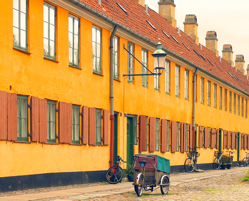 Colourful houses in the old area of Nyboder, Copenhagen, Denmark, Europe