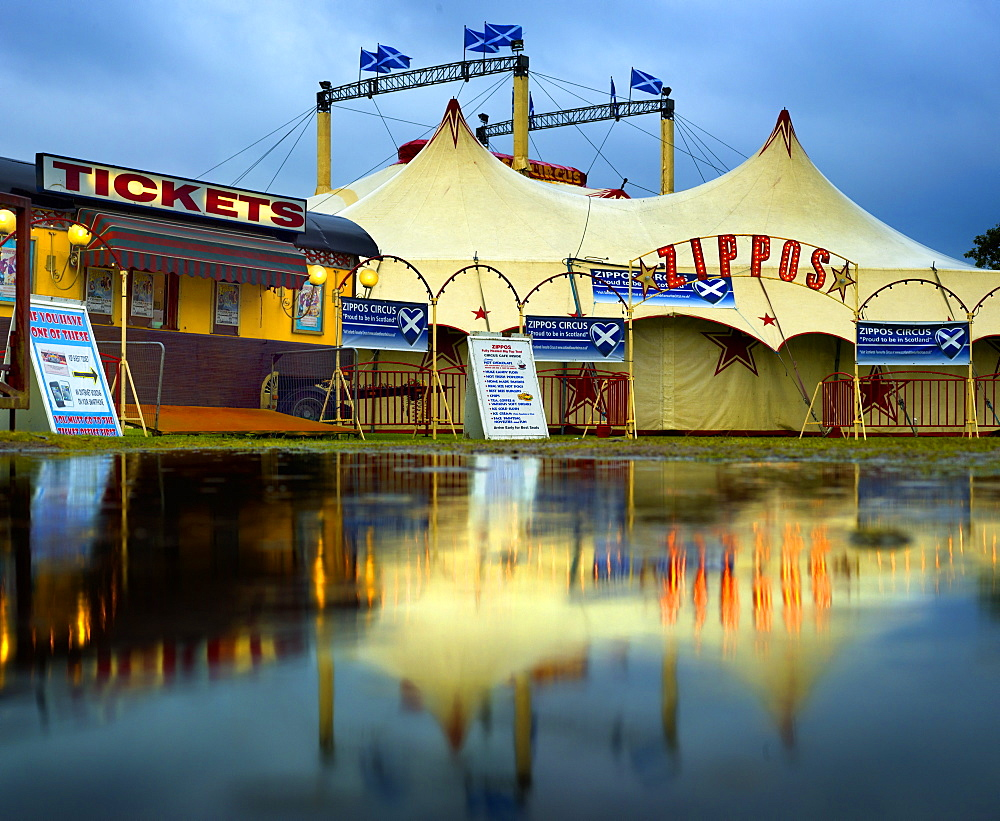 Circus big top tent in a flooded field, Stonehaven, United Kingdom, Europe