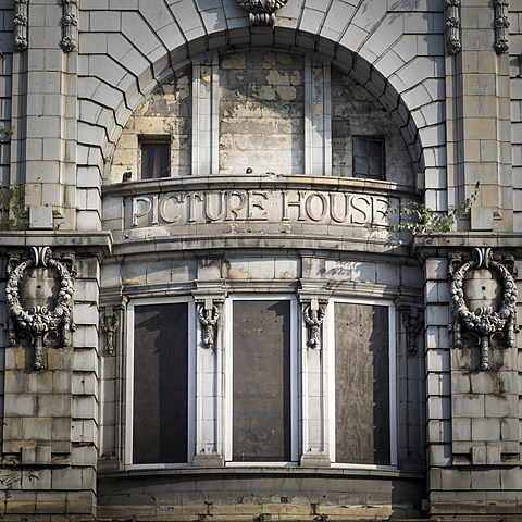 Opened in 1912 the Lime Street Picture House was a Georgian styled city centre cinema, now derelict, Liverpool, Merseyside, England, United Kingdom, Europe