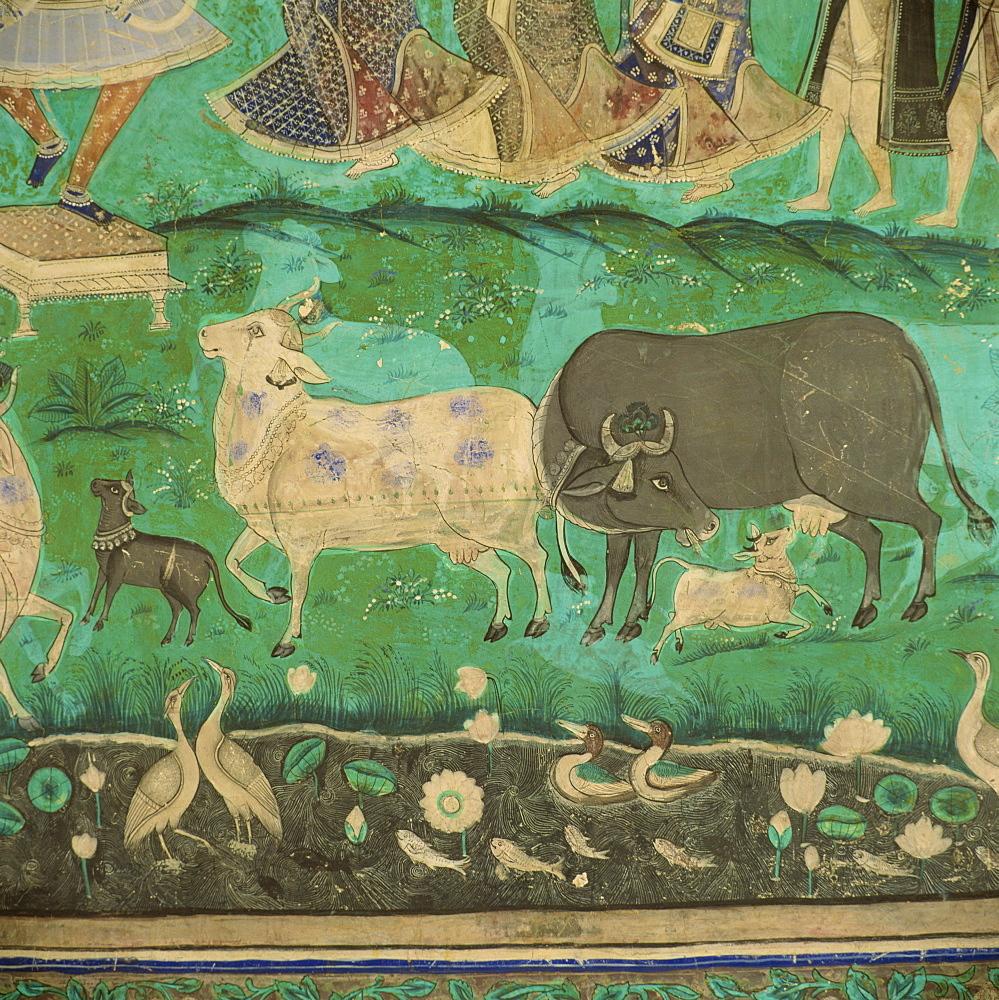 Wall paintings, Bundi Palace, Bundi, Rajasthan, India, Asia - 136-372