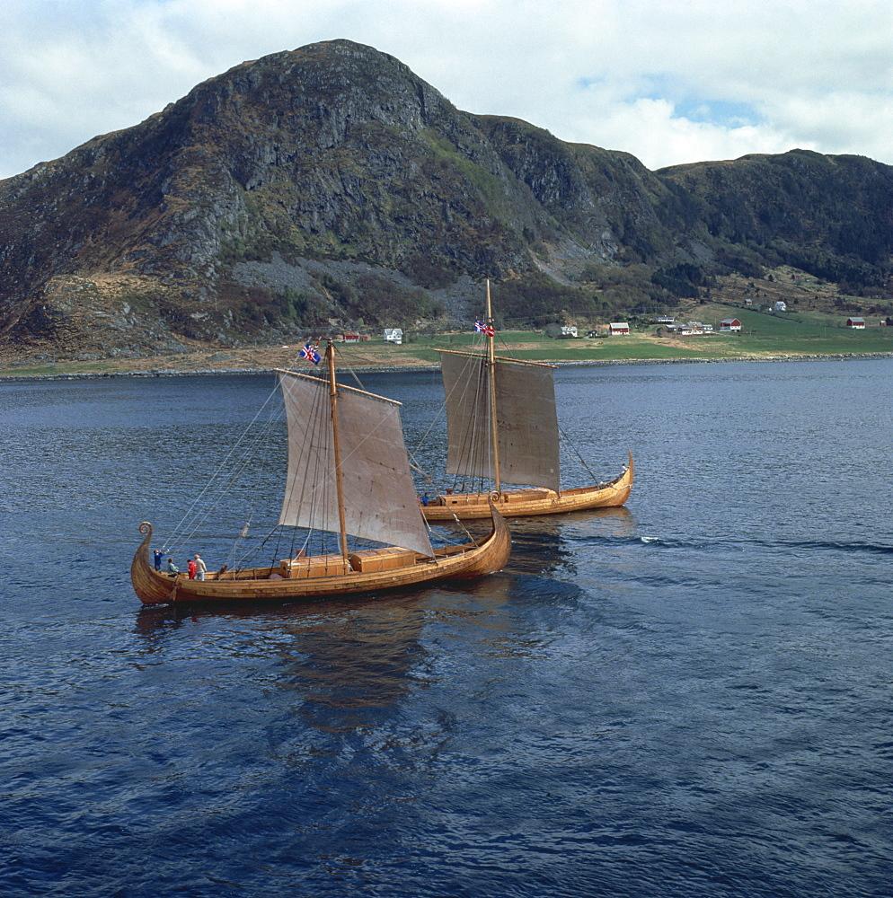 Replica Viking ships, Oseberg and Gaia, near Ulstenvik, Norway, Scandinavia, Europe