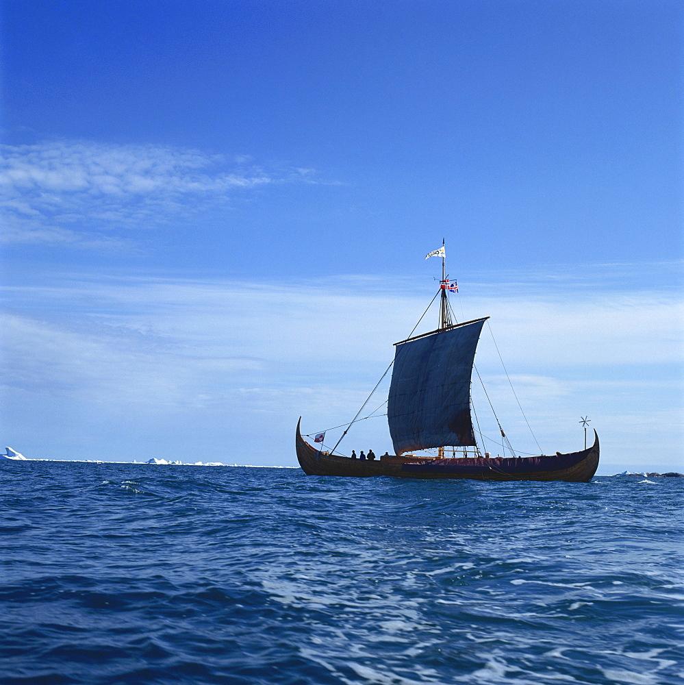Viking ship, Gaia, replica of the Gokstad, Greenland, Polar Regions