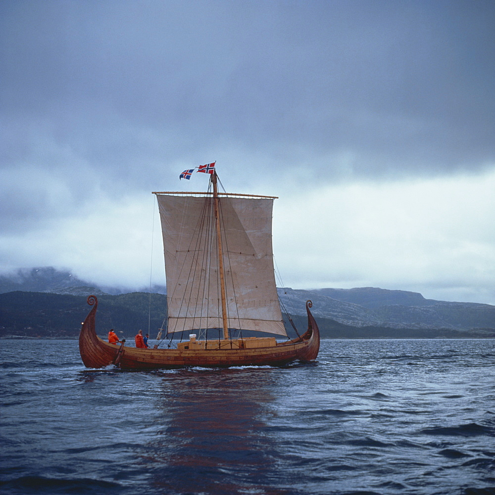 Replica Viking ships, Oseberg, West Norway, Norway, Scandinavia, Europe