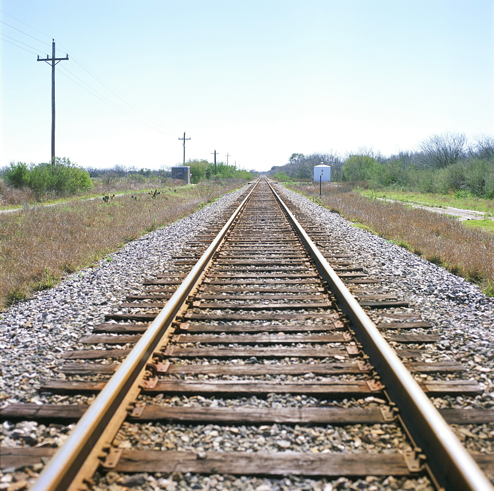 Rail tracks near Austin, Texas, United States of America, North America