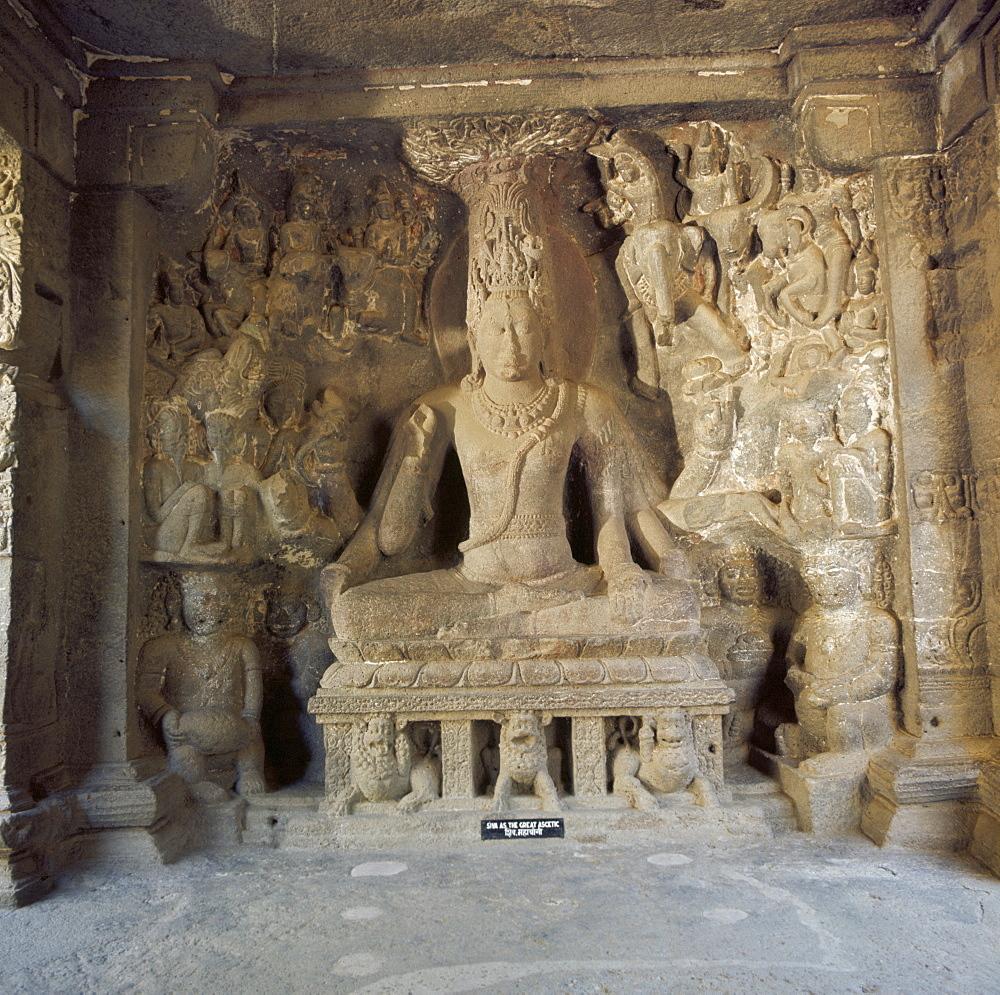 Shiva the great ascetic, Kailasa, Ellora, UNESCO World Heritage Site, Maharashtra state, India, Asia
